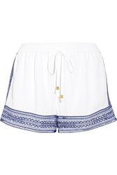Michael Michael Kors Embroidered Crepe Shorts