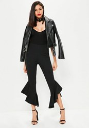 Missguided Tall Exclusive Black Frill Hem Cropped Trousers