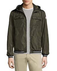 Moncler Jean Luc Hooded Nylon Jacket Olive Green Size 4