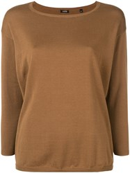 Aspesi Boat Neck Knitted Top Brown