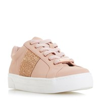 Head Over Heels Embellish Diamante Lace Up Trainers Nude