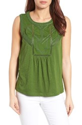 Caslonr Petite Women's Caslon Embroidered Lace Detail Cotton And Modal Tank Green Nursery