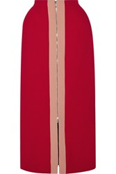 Delpozo Wool Blend Crepe Maxi Skirt Claret
