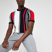 River Island Navy Stripe Slim Fit Knitted T Shirt