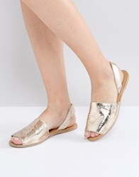 Warehouse Two Part Slingback Sandal Gold