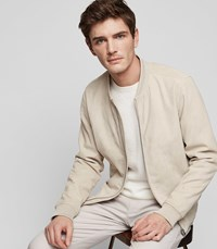 Reiss Venice Suede Bomber Jacket In Stone