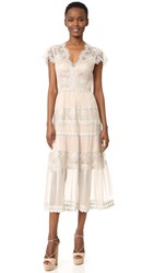 Catherine Deane Gwyneth Silk Chiffon Metallic Lace Dress Silver Almond