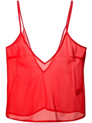 Amen Sheer V Neck Cami Red