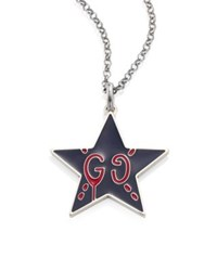Guccighost Sterling Silver Star Pendant Navy