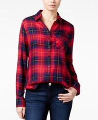 Polly And Esther Juniors' Herringbone Plaid Shirt Red Navy