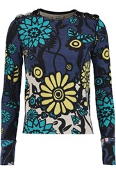 Issa Bess Floral Print Silk Blend Boucle Knit Sweater Blue