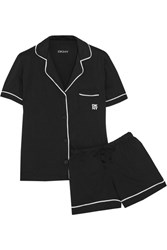Dkny Signature Cotton Blend Jersey Pajama Set Black