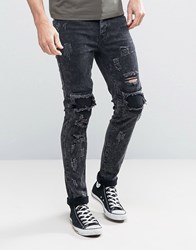 Sixth June Skinny Jeans With Distressing In Acid Wash Black