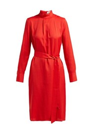Cefinn Tie Waist Jacquard Dress Red
