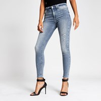 River Island Grey Molly Ripped Mid Rise Jeggings
