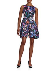 Taylor Floral Print Scuba Fit And Flare Dress Multicolor