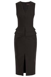 Martin Grant V Neck Basque Peplum Dress