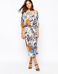 Sisley Midi Dress In 70'S Floral Multi