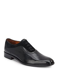 Massimo Matteo Suede Trim Leather Oxfords Black