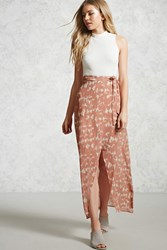 Forever 21 Abstract Print Maxi Skirt Dusty Pink Cream