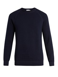 Sunspel Crew Neck Rack Stitched Cotton Sweater Navy