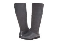 Softwalk Hollywood Wide Calf Graphite Soft Nappa Leather Cow Suede Leather Women's Wide Shaft Boots Gray