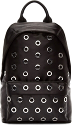 Mcq By Alexander Mcqueen Black Satin Riveted Backpack
