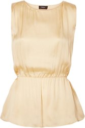Theory Silk Satin Top Pastel Yellow