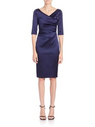 Talbot Runhof Ruched Satin Sheath Red Navy