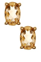 Savvy Cie Oval Citrine Stud Earrings Yellow