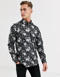 Ted Baker Shirt With Dark Floral Leopard Print In Black