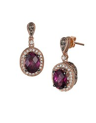 Le Vian Chocolatier Multi Stone Semi Precious And 14K Strawberry Gold Drop Earrings Burgundy