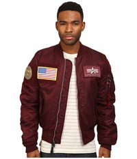 Alpha Industries Ma 1 Flex Slim Flight Jacket Maroon Men's Coat Red