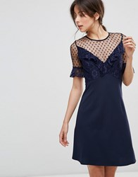 Elise Ryan A Line Mini Dress With Lace Frill And Fluted Sleeve Navy