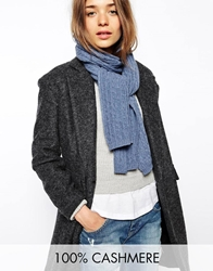 Johnstons Cashmere Cable Scarf Jeanblue