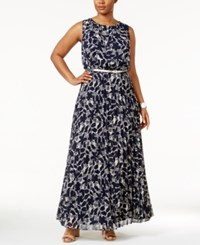 Jessica Howard Plus Size Printed Belted Maxi Dress Navy Ivory