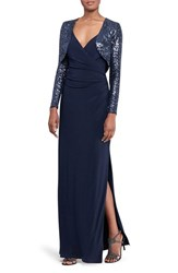 Lauren Ralph Lauren Women's Ruched Faux Wrap Gown With Sequin Bolero