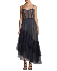 Cinq A Sept Coletta Sweetheart Neck Fit And Flare Chiffon Cocktail Dress Navy