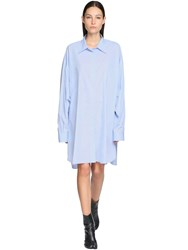 Maison Martin Margiela Oversize Cotton Poplin Shirt Dress Light Blue