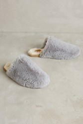 Anthropologie Faux Fur Slippers Grey
