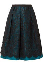 Draper James Betty Duchesse Satin And Lace Midi Skirt Teal