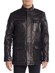 Saks Fifth Avenue Quilted Leather Jacket Black