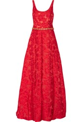 Marchesa Notte Crystal Embellished Brocade Gown Red