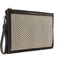 Want Les Essentiels Barajas Raffia Panelled Leather A4 Document Holder Black