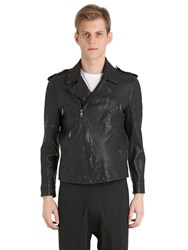 Neil Barrett Quilted Washed Leather Biker Jacket