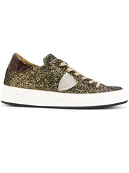 Philippe Model Lace Up Glitter Sneakers Cotton Leather Suede Rubber Brown