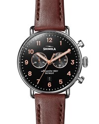 Shinola 43Mm Canfield Chronograph Watch With Brown Leather Strap