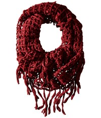 Steve Madden Lurex Rag A Muffin Infinity Maroon Scarves Red
