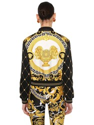 Versace Printed Faux Leather And Satin Bomber Black Gold