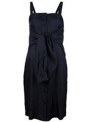 Maison Martin Margiela Tie Front Fitted Dress Blue